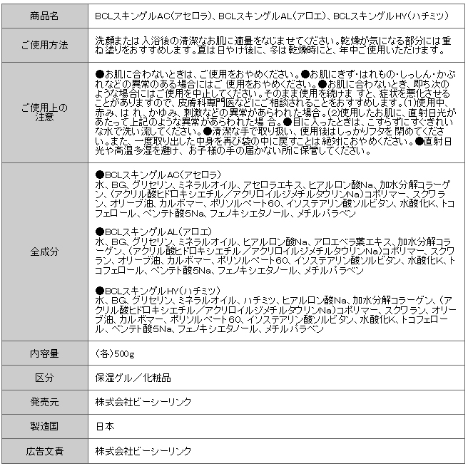 Body Moisture Gel_info